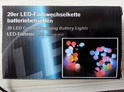 Led Lichterkette 10 oder 20 Lämpchen Farbwechsel RGB batteriebetrieben 20 Lämpchen von Linder auf Lampenhans.de