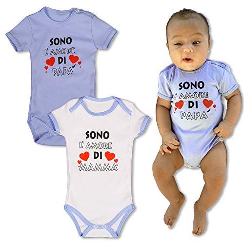 Repanda body bimbo 0-3 mesi - pacco da due - 100% cotone - body neonato divertenti - manica corta
