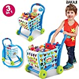 BAKAJI Carrello della Spesa Supermarket 3in1 con Frutta e Verdura Giocattolo per Bambini (Azzurro)