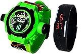 Pappi-Haunt - Calidad ASEGURADA - Paquete de 2 Benton (Ben 10) Reloj de Banda para proyector + Reloj de Banda led Digital para Jalea Delgado Negro para niños, niños