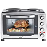 VonShef Large 36L Stainless Steel Convection Mini Oven, Grill & Rotisserie with Double Hot Plates includes Baking Tray & Wire Rack