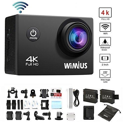 Cámara Deportiva 4K Wifi ,WiMiUS Q1 Cámara Acción 16MP Videocámara de Deportiva 1080p 60fps, Incluyen Cascara Impermeable,2 Baterías, y Accesorios Completos Kits-Negro