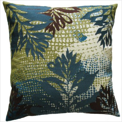 koko-ecco-leaf-print-and-embroidery-cotton-pillow-18-by-18-inch-blue-brown