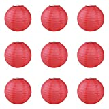 YL Chinese Red Paper Lantern 9pcs/Pack Five Sizes (20cm)