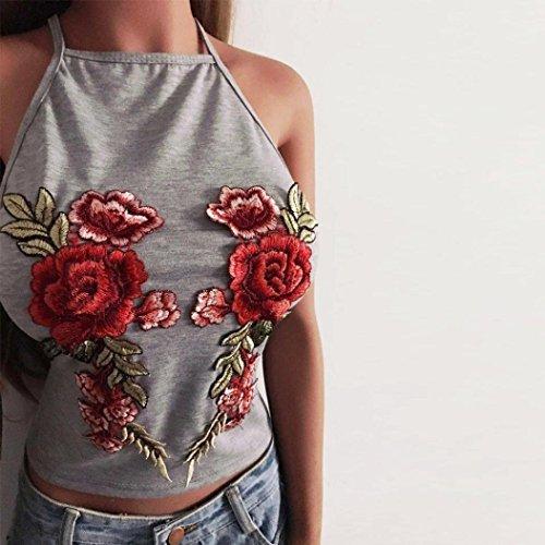 Minetom Donna Halter Bustier Reggiseno Vest Senza Maniche Moda Rose Ricamo Maglia Maglietta Camicia Camicetta Senza Schienale T-Shirt Grigio