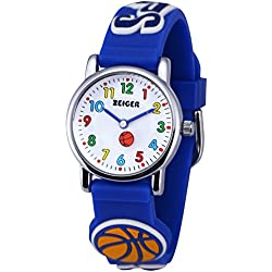 Zeiger Reloj Niños cuarzo analógica–Reloj pdagogique para Garcon–Pulsera Silicona Goma Azul–Diseño Baloncesto 3d–profesores tiempo Time Teacher