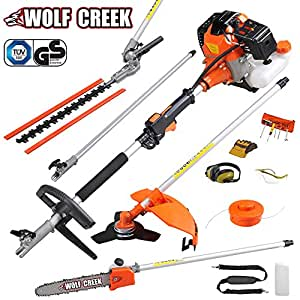 Wolf Creek Multi-tool 58cc 2 stroke Petrol 5 in1 Long Reach Hedge Trimmer, Strimmer, Pruner Chainsaw, Brush Cutter & Extension Pole