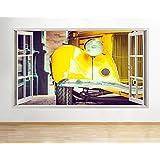 B089amarillo coche Vintage Retro niños Cool para pared Póster 3d art pegatinas de vinilo (tamaño mediano (52x 30cm))