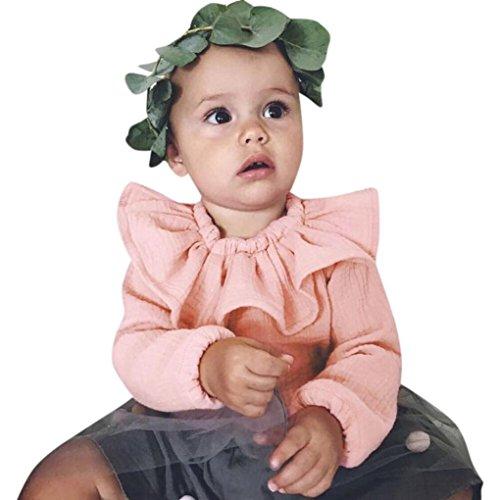 Gefaltete Polyester (Amlaiworld Baby Mädchen Gefaltet langarmshirt winter Kleinkind warm niedlich pullis,0-24Monate (Rosa, 12 Monate))