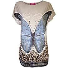Womens Tops Summer Butterfly Beach T-Shirts By Love Lola® Pool Wear Evening Parties One Size