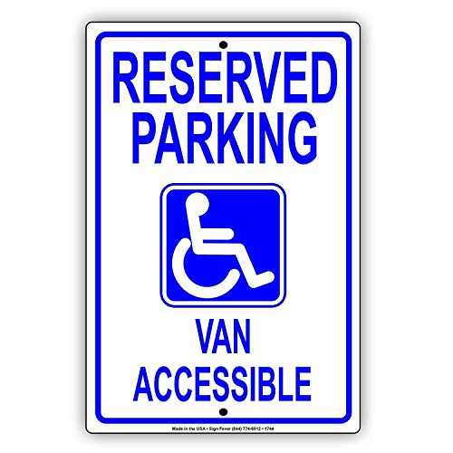YASMINE HANCOCK Reserved Parking Disabled with Graphic Van Accessible ADA Handicap Metall Plaque Zinn Logo Poster Wand Kunst Cafe Club Bar Wohnkultur -