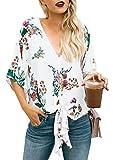 Gemijacka Damen Sommer Kurzarm Blumen Bluse Chiffon V-Ausschnitt Hippie Oberteile Shirt