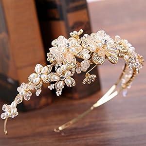 CYY Braut Kopfschmuck Perlen Wasser Diamant mit Gold Blume Haarband Braut Haar Krone