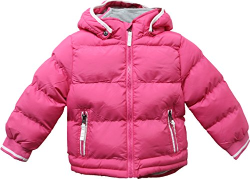 Baby Padded Jacket Quilted Coat Boys Girls Kids 1-5 year Hooded Winter Warm Fleece (1/2, Pink)
