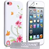 Coque iPod Touch 5G Etui Blanc/Rose Florale Silicone Gel Housse