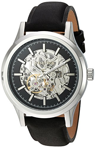 Armitron Men's 20/5169BKSVBK Automatic Silver-Tone and Black Leather Strap Watch
