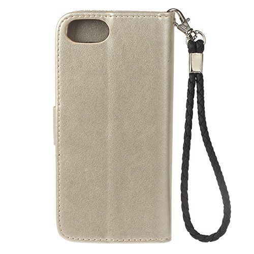 iPhone 7/iPhone 8 Coque de Luxe,iPhone 7/iPhone 8 Case Bookstyle,Hpory Neo élégant Luxe PU Cuir Solid Color Papillon en Relief Motif Book Style Folio Stand Fonction Support PU Leather Walllet Case wit Chouette,Or