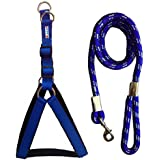 Petshop7 Nylon Padded Blue Adjustable Dog Harness & Leash Rope 1.25 Inch For Large Pet (Chest Size : 33-42)