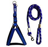 #9: Petshop7 Nylon Padded Blue Adjustable Dog Harness & Leash Rope 1.25 Inch For Large Pet (Chest Size : 33-42)