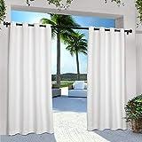 Exclusive Home EH8000-01 2-96G Innen/Außen Solid Cabana Ösenvorhang, Polyester, weiß, 54x108