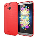 NALIA Handyhülle für HTC One M8 M8S, Ultra-Slim Case Cover, Dünne Punkte Schutzhülle, Etui Handy-Tasche Back-Cover Bumper, TPU Silikon-Hülle für HTC One M8S M8 Smart-Phone - Mesh Rot