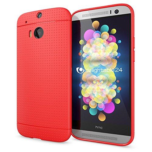 NALIA Handyhülle kompatibel mit HTC One M8 M8S, Ultra-Slim Case Cover, Dünne Punkte Schutzhülle, Etui Handy-Tasche Back-Cover Bumper, TPU Silikon-Hülle Smart-Phone - Mesh Rot (Handy Htc Cover M8)