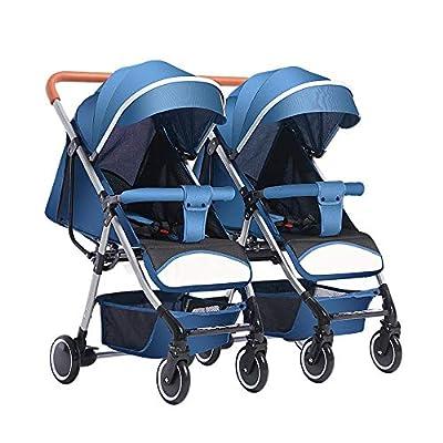 YWEIWEI Twin Silla de Paseo Gemelar, Ligera y Compacta,Cochecito de Bebe Gemelar,Coche de Bebes