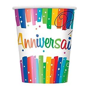 Unique Party-56906-Paquete de 8vasos de cartón-cumpleaños feliz lazos multicolor-266ml , Modelos/colores Surtidos, 1 Unidad