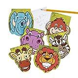 cama24com Safari Notizblock mit Wackelaugen 6 verschiedene Motive 12 Stück mit Palandi® Sticker