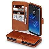 TERRAPIN, Compatible with Samsung S8 Case, GENUINE LEATHER Wallet Flip Cover - Cognac