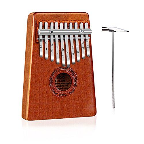 Mugig Kalimba Mbira Sanza 10 Schlüssel Daumenklavier Spielzeug Musiknote auf der Tastatur Sofort Spielbar mit Stimmwerkzeug und Notenschrift Verfügung Anfänger Booklet