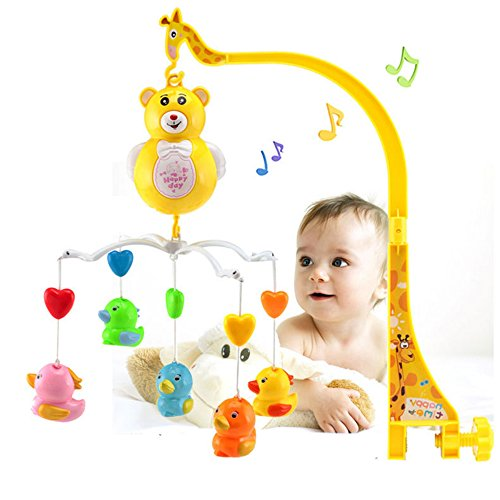 RIANZ Battery Operated Lovely Happy Bear and Animal Musical Revolving Crib bed hanging bell