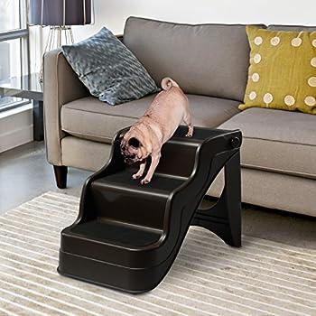PawHut Escalier Animal Escalier pour Chiens Escalier Chat Plaible Portable 3 Marches Antidérapants Charge Max. 50Kg 49 x 39 x 39cm Brun