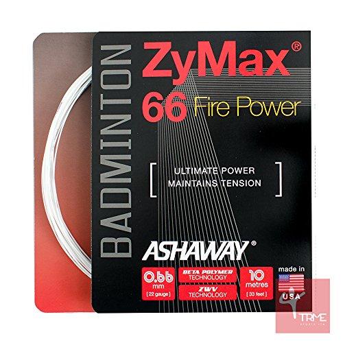 ASHAWAY ZyMax 66Fire Power 0,66mm Badminton Saiten Set, Weiß (Saite Badminton Ashaway)