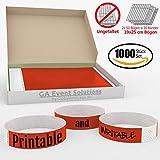 1000 Eintrittsbänder aus Tyvek zum selbst gestalten und bedrucken in Rot von GA Event Solutions - Party Einlassbänder, Festival Armbänder für dein Event
