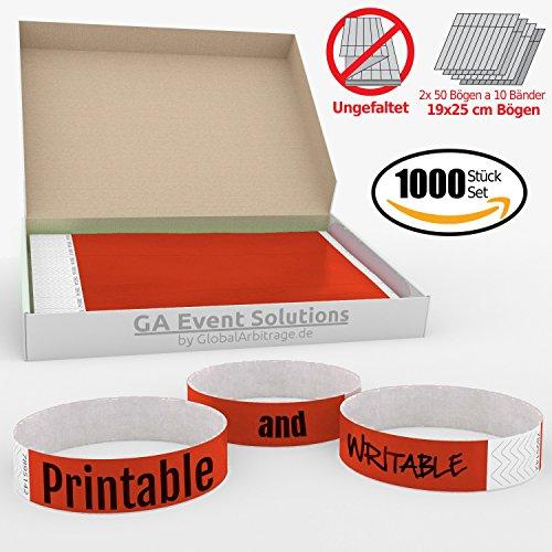 1000 Eintrittsbänder aus Tyvek zum selbst gestalten und bedrucken in Rot von GA Event Solutions - Party Einlassbänder, Festival Armbänder für dein Event (Tyvek-armbänder 1000)
