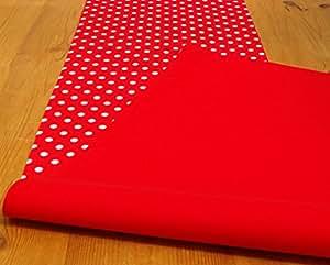 40x 40x 200cm Double Face Chemin de table-rouge avec pois blanc/rouge uni-6places style Cath Kidston * * * * * * * * * * * * * * * *