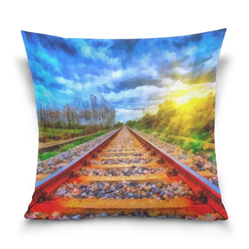 Hectwya Railway and Sunrise Landscape Painting Square Throw Pillow Case Cotton Velvet Cushion Cover 18