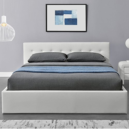 ArtLife Polsterbett Marbella – 140 x 200 cm – Weiß mit Lattenrost & Kaltschaummatratze