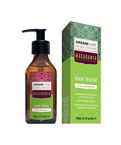 Arganicare Macadamia Hair Serum for Dry and Damaged Hair with Organic Argan Oil and Macadamia Oil (3.4 Fluid Ounce) by Arganicare