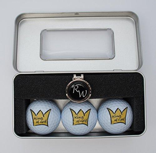 k-Box: 3 Bälle King of Golf und Cap-Clip mit personalisiertem Golfball-Marker ()