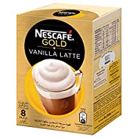 NESCAFE GOLD VANILLA Latte Instant Foaming Coffee Mix - 18.5 gm x 8 Sticks