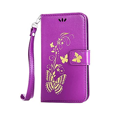 iPhone 6 Plus Hülle, iPhone 6S Plus Hülle, Anlike Schutzhülle für iPhone 6 Plus /6S Plus (5,5 Zoll) Wallet Tasche [Butterfly geprägte Serie Bronzing] Handyhülle - Lila