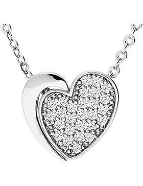 MYA art Damen Kette Halskette Herzketten mit Herz Anhänger und Swarovski Elements in Weißgold vergoldet Silber...