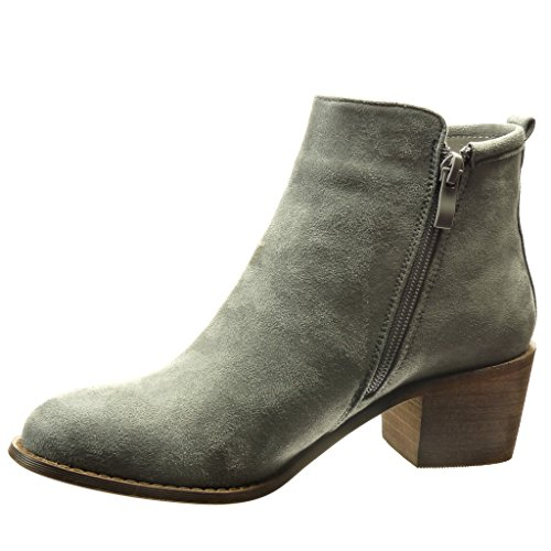 Angkorly - Chaussure Mode Bottine cavalier femme finition surpiqûres coutures flashy Talon haut bloc 5.5 CM Gris