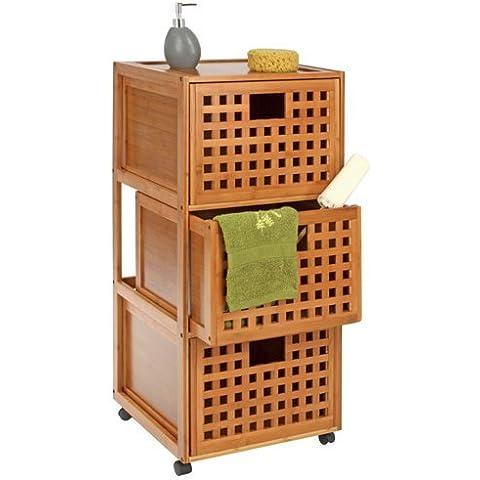 Mobile da bagno a rotelle e 3 cassetti, in legno di bambù, collezione 2011