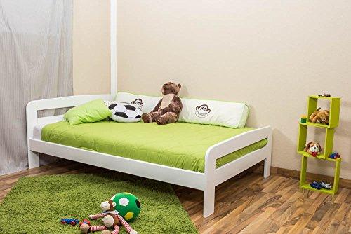 Kinderbett / Jugendbett Kiefer Vollholz massiv weiß lackiert A6, inkl. Lattenrost - Abmessung 120 x 200 cm