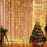 LED Lichtervorhang FLY5D 300 LEDs 8 Modi 3m x 3m IP44 wasserfest Sternen Lichterkettenvorhang für Weihnachten Garten Deko Party Festen Hochzeit Zimmer