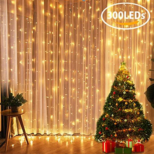 Tenda luminosa fly5d 300 led catena luci interno 3x3metri luci stringa impermeabile luci led natale esterno con 8 effetti luci decorative per natale giardino matrimoni feste compleanno