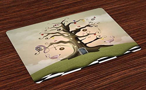 ABAKUHAUS Baum Platzmatten, Wonderland Themed Leafless Bole mit Hipnotic Ornamente auf schwarz weiß Karierten Boden, Tiscjdeco aus Farbfesten Stoff für das Esszimmer und Küch, Mehrfarbig